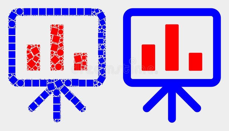 Pixelated och plan symbol för presentation för vektorstångdiagram vektor illustrationer