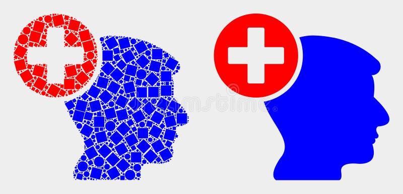 Pixelated och plan symbol för vektorhuvudmedicin stock illustrationer