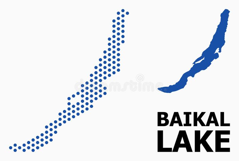 Pixelated Pattern Map of Baikal. Pixel map of Baikal composition and solid illustration. Vector map of Baikal composition of sphere dots with honeycomb geometric vector illustration