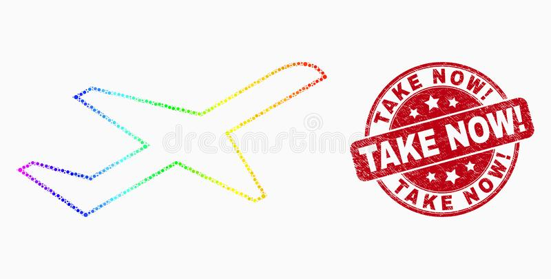 Vector Spectral Dot Airplane Takeoff Icon and Scratched Take Now! Stamp. Pixelated rainbow gradiented airplane takeoff mosaic pictogram and Take Now! seal stamp stock illustration