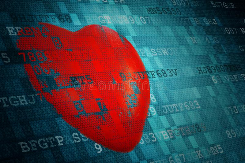 Pixelated Red Heart Symbol On Blue Abstract Technology Background
