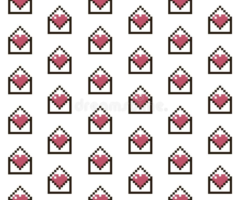 Pixelated serca w liście ilustracji
