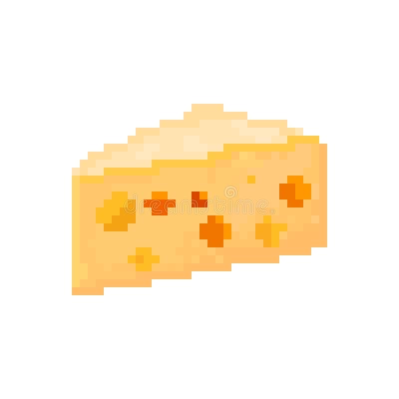 Pixelated stycke av ost royaltyfri illustrationer