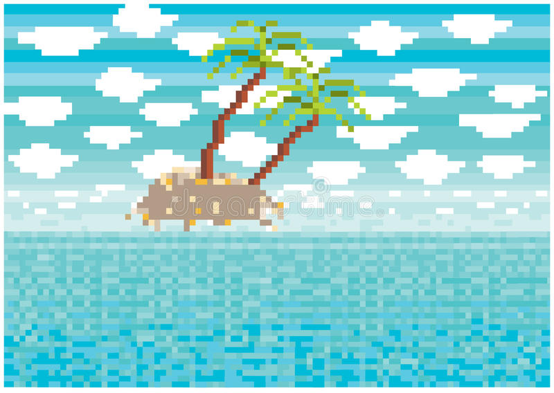 Pixelated tropisch eiland vector illustratie