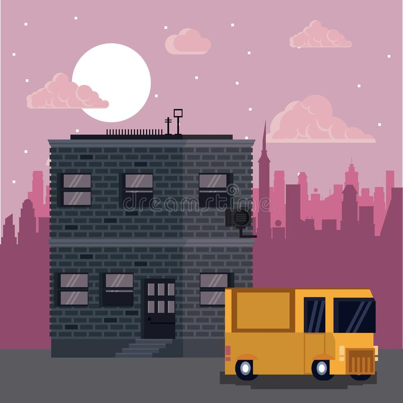 Pixelated truck on city at night vector illustration