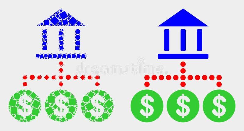 Pixelated und flache Vektor-Bank-Hierarchie-Ikone stock abbildung