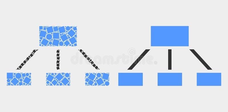 Pixelated und flache Vektor-Hierarchie-Ikone lizenzfreie abbildung
