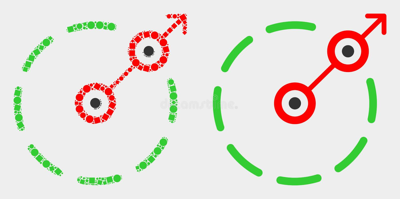 Pixelated und flacher Vektor-Radialentweichen-Grenzikone vektor abbildung