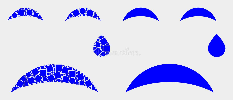 Pixelated und flacher Vektor-Riss Smiley Icon stock abbildung