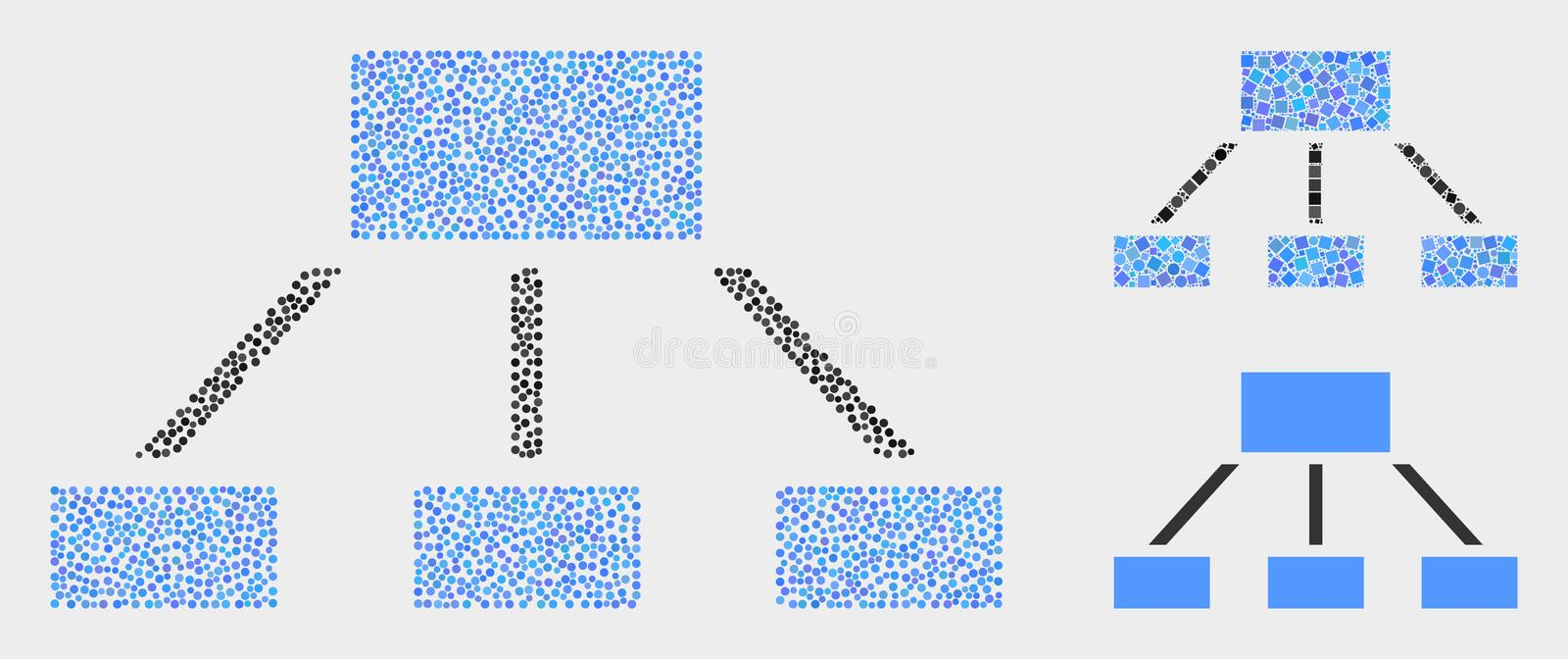 Pixelated Vector Hierarchy Icons. Pixel and mosaic hierarchy icons. Vector icon of hierarchy formed of randomized circle pixels. Other pictogram is designed from vector illustration