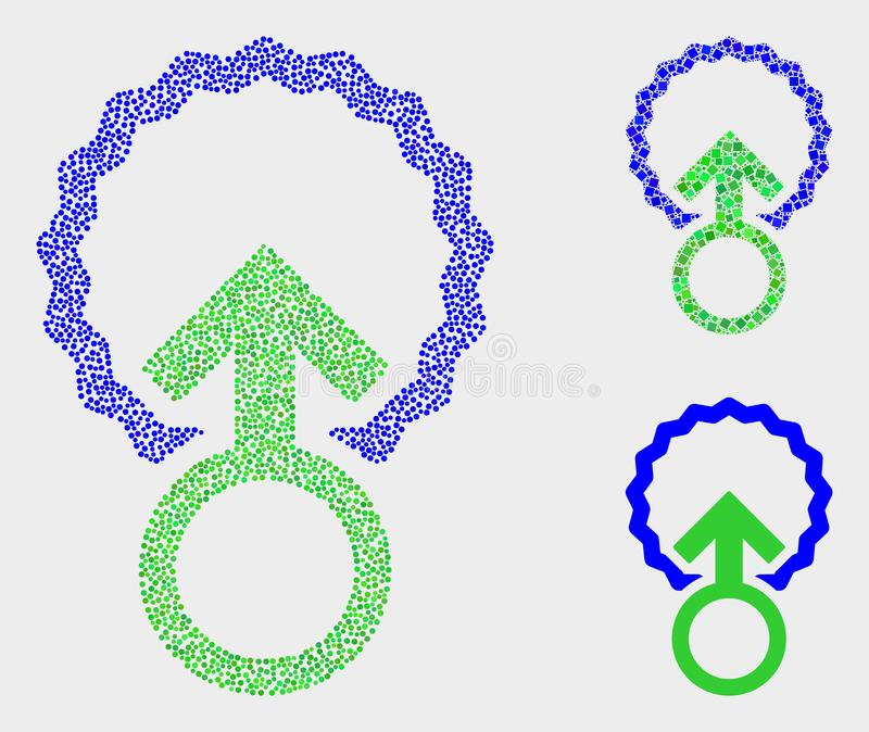 Pixelated Vector Insemination Icons. Pixel and mosaic insemination icons. Vector icon of insemination combined with irregular circle pixels. Other pictogram is vector illustration