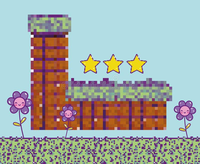 Pixelated videogame scenery royalty free illustration
