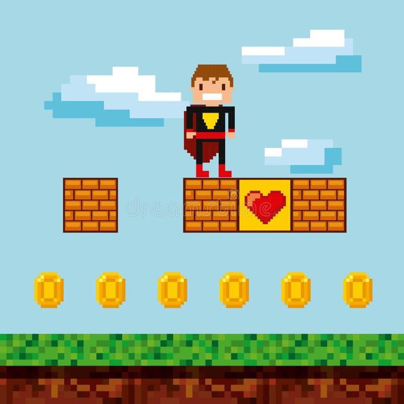Pixelated videospelsymboler vektor illustrationer