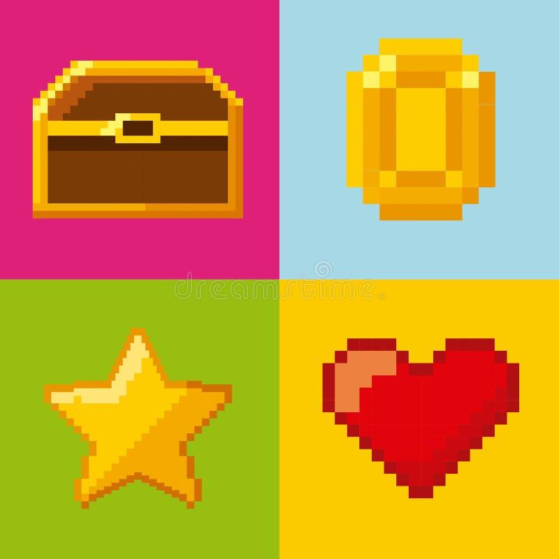 Pixelated wideo gry ikony ilustracja wektor