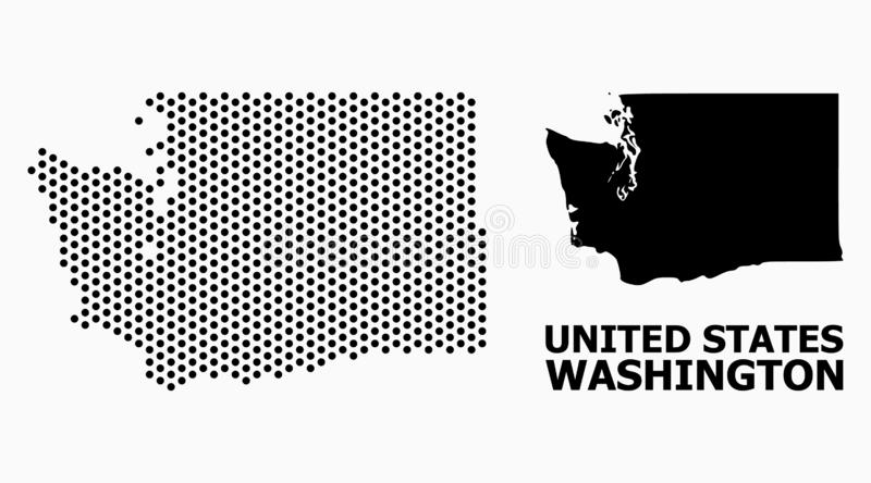 Pixelated wzoru mapa stan washington ilustracji
