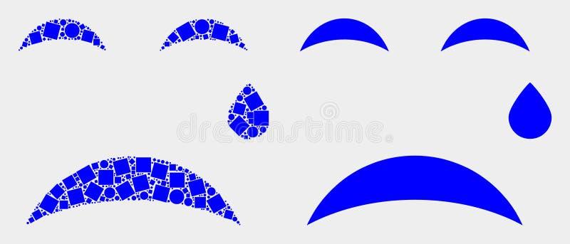 Pixelated y rasgón plano Smiley Icon del vector stock de ilustración