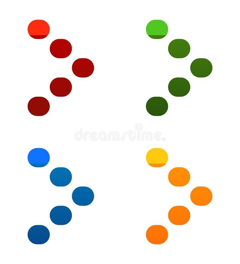 Pixelatedpijlpunt in heldere kleuren - juiste Pijlpictogrammen royalty-vrije illustratie