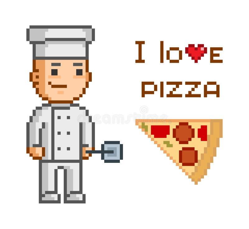 PIXELbegrepp för pizzeria vektor illustrationer