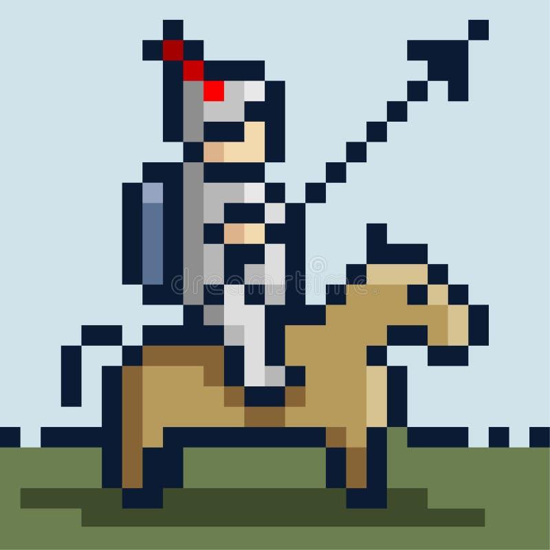 Pixelbild eines Ritters in der Eisenrüstung auf einem Pferd und mit einer Stange lizenzfreie abbildung