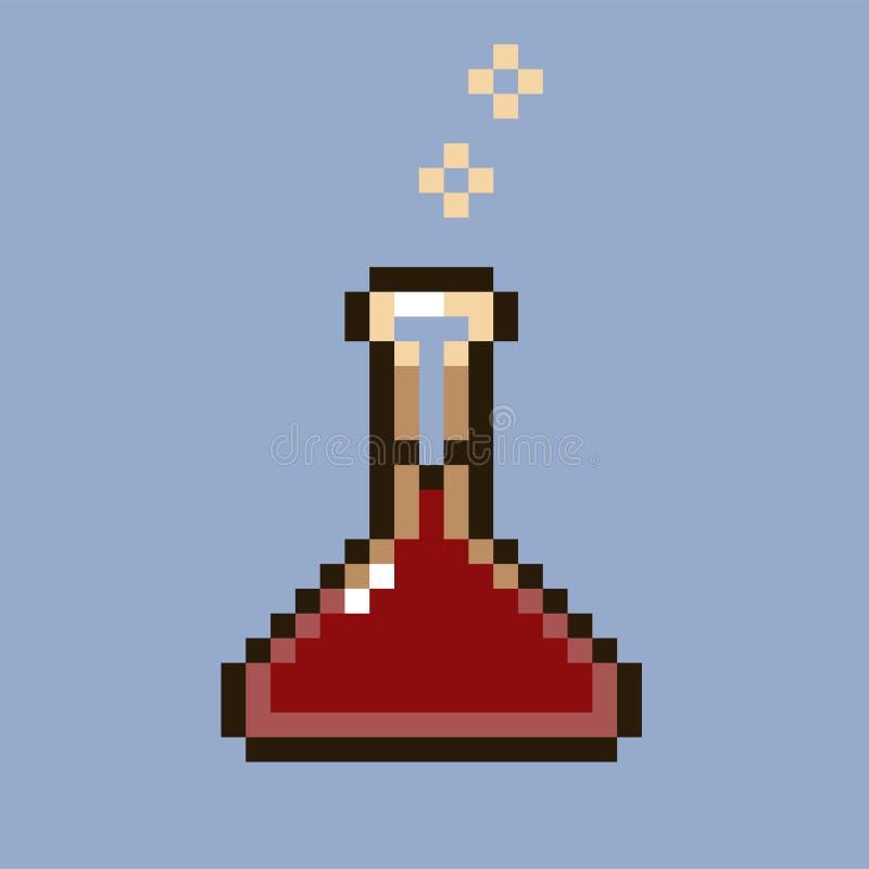 Pixelbild mit einem roten gurgelnden Trank in einer Phiole oder in einer Flasche lizenzfreie abbildung