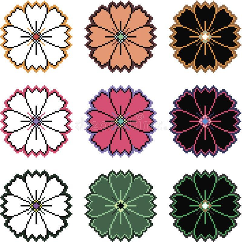 Pixelblumen in den verschiedenen Farbveränderungen stockfotografie