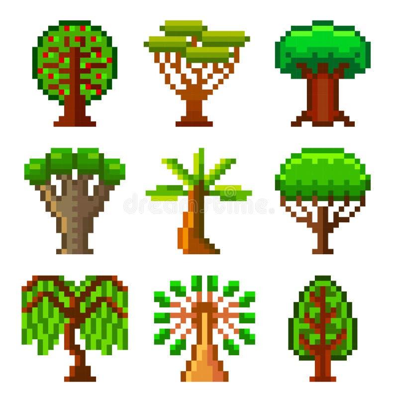 Pixelbomen voor de vectorreeks van spelenpictogrammen stock illustratie