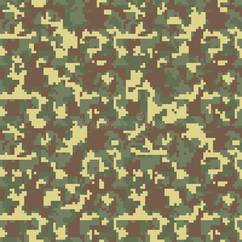 Pixelcamo Naadloos camouflagepatroon Militaire camouflagetextuur stock illustratie