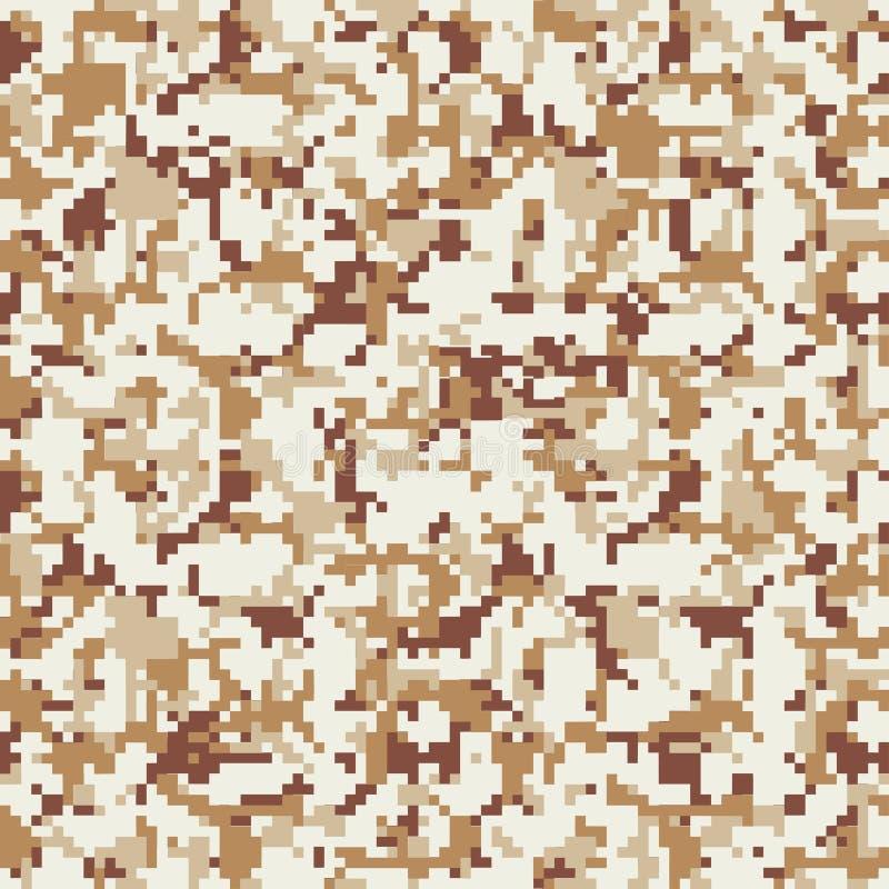 Pixelcamouflage Naadloos digitaal camopatroon Militaire textuur Bruine woestijnkleur stock illustratie