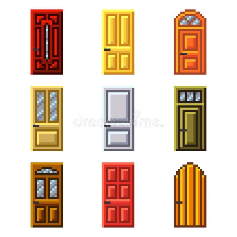 Pixeldeuren voor de vectorreeks van spelenpictogrammen vector illustratie