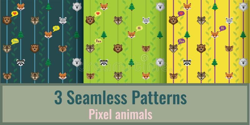 Pixeldieren in patronen stock afbeelding
