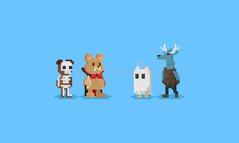 PIXELdjur i den halloween dräkten tecken 8bit stock illustrationer