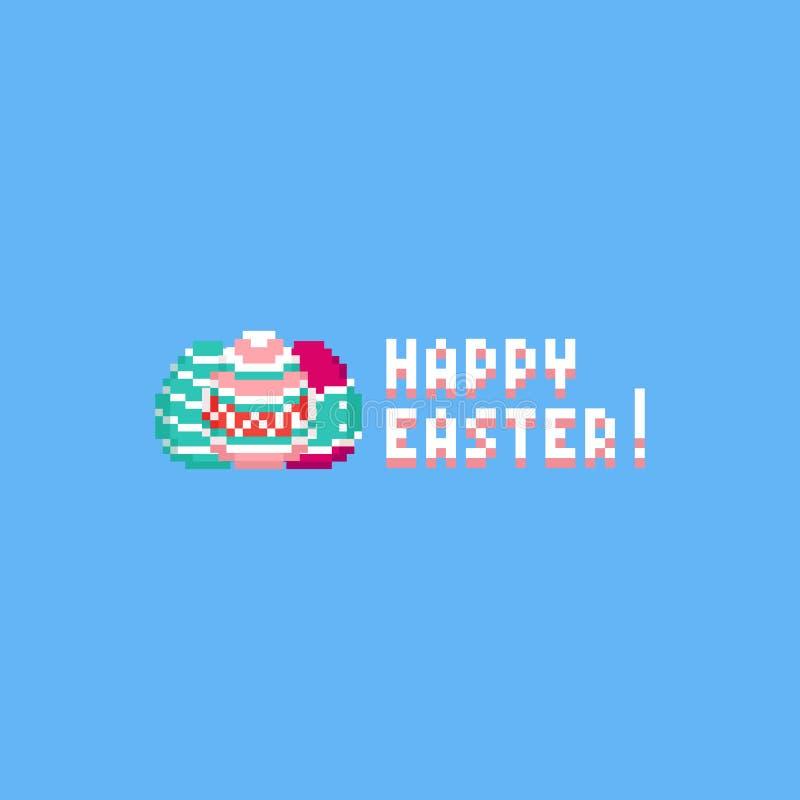PIXELeaster ägg med lycklig easter text 8bit royaltyfri illustrationer