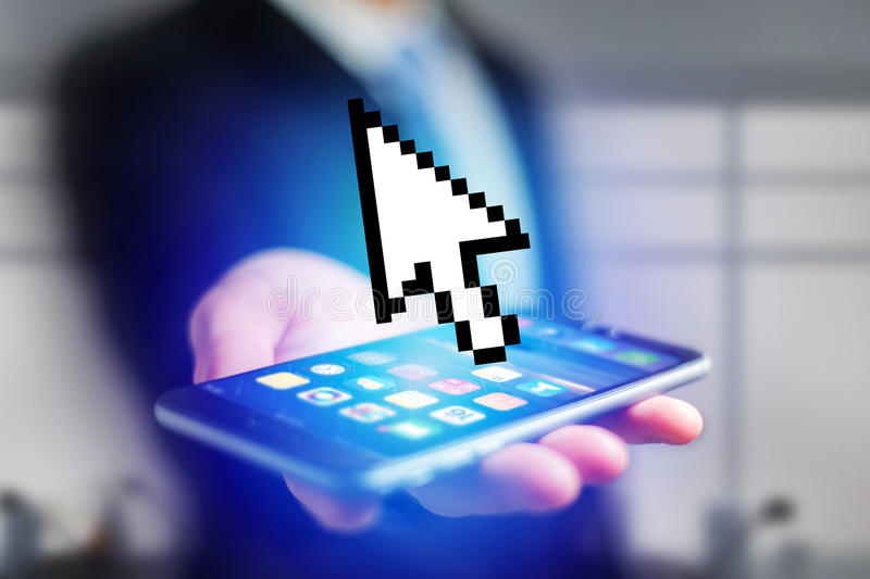 Pixeled black and white mouse pointer displayed on a futuristic. View of a Pixeled black and white mouse pointer displayed on a futuristic interface - Connection royalty free stock images