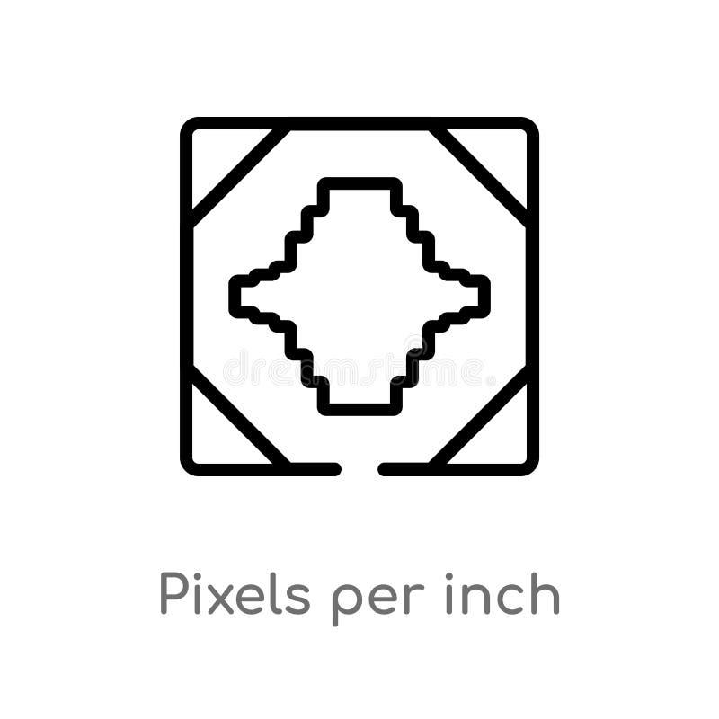 pixeles del esquema por icono del vector de la pulgada línea simple negra aislada ejemplo del elemento del concepto de la tecnolo stock de ilustración