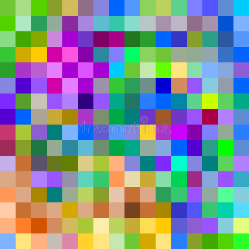 Pixeles grandes coloridos. stock de ilustración