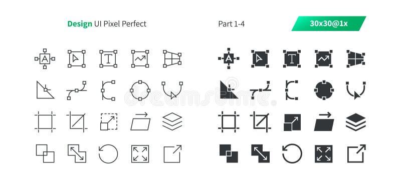 PIXELet Perfect för den grafiska designen UI Brunn-tillverkade den tunna linjen för vektorn och det fasta rastret 1x för symboler vektor illustrationer