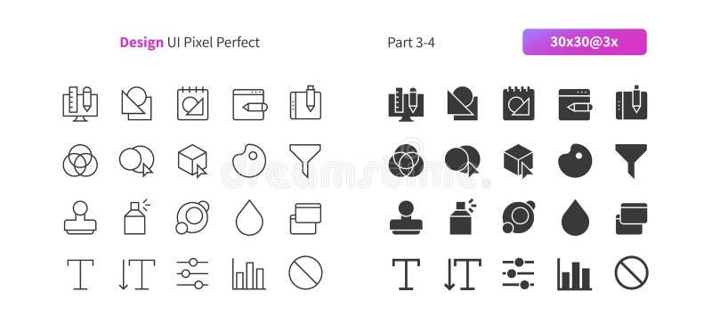 PIXELet Perfect för den grafiska designen UI Brunn-tillverkade den tunna linjen för vektorn och det fasta rastret 3x för symboler stock illustrationer