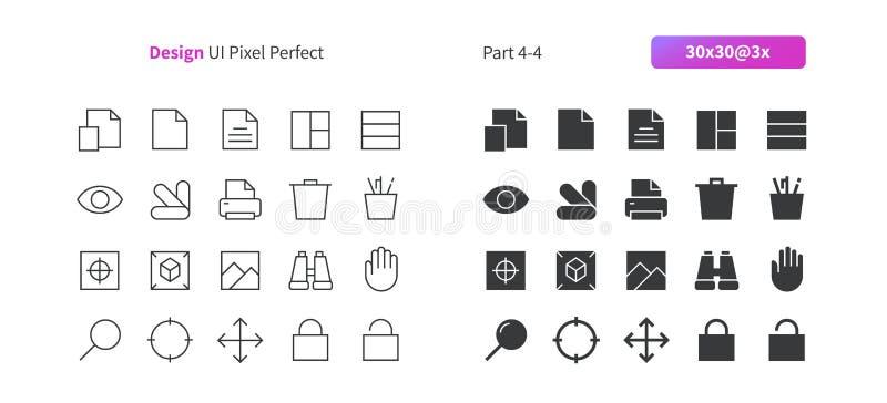 PIXELet Perfect för den grafiska designen UI Brunn-tillverkade den tunna linjen för vektorn och det fasta rastret 3x för symboler vektor illustrationer