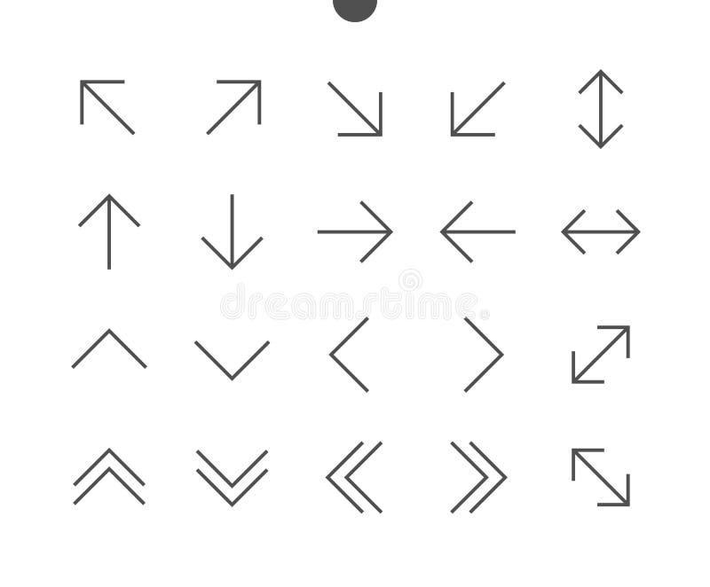 PIXELet Perfect för pilar UI Brunn-tillverkade den tunna linjen symboler för vektorn vektor illustrationer