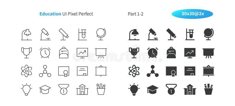 PIXELet Perfect för utbildning UI Brunn-tillverkade den tunna linjen för vektorn och det fasta rastret 2x för symboler 30 för ren vektor illustrationer