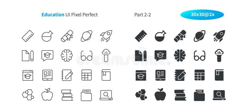 PIXELet Perfect för utbildning UI Brunn-tillverkade den tunna linjen för vektorn och det fasta rastret 2x för symboler 30 för ren stock illustrationer