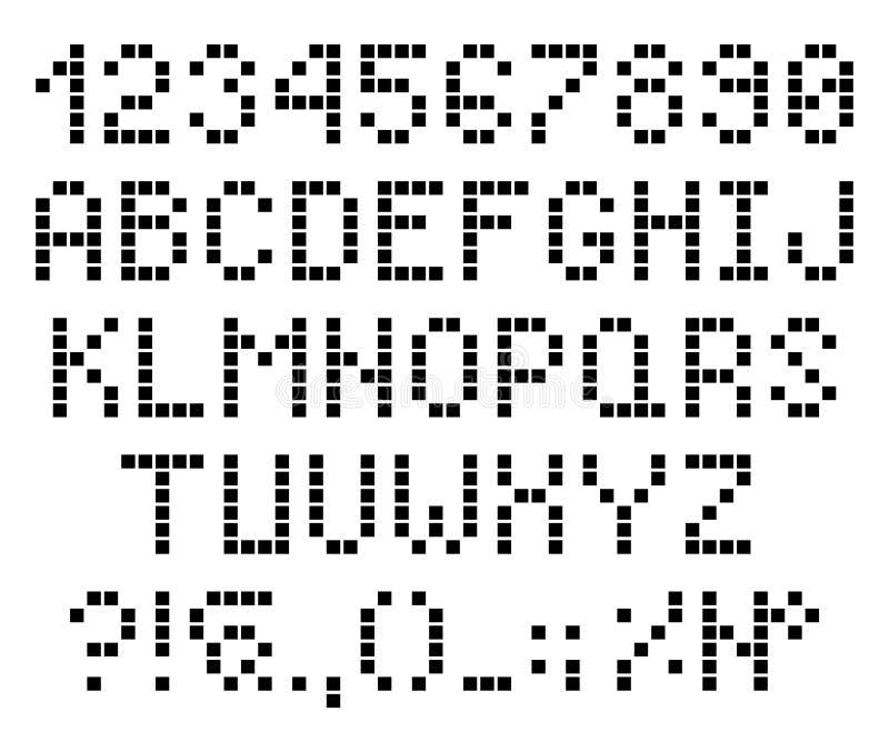 PIXELet pricker bokstäver och nummer, alfabetet, stilsort royaltyfri illustrationer