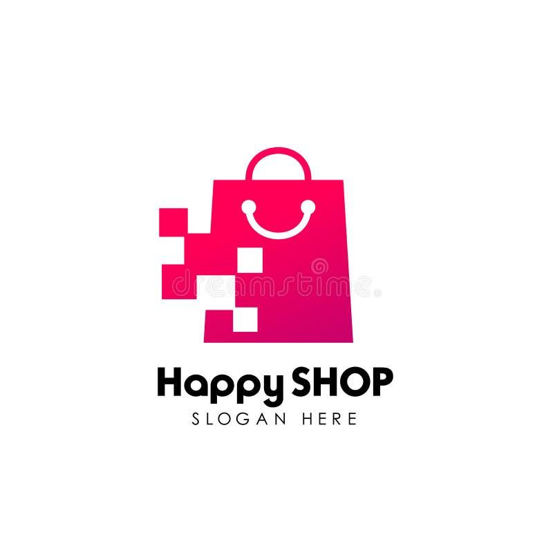 PIXELet shoppar logodesignmallen shoppa logodesignmaterielet vektor illustrationer