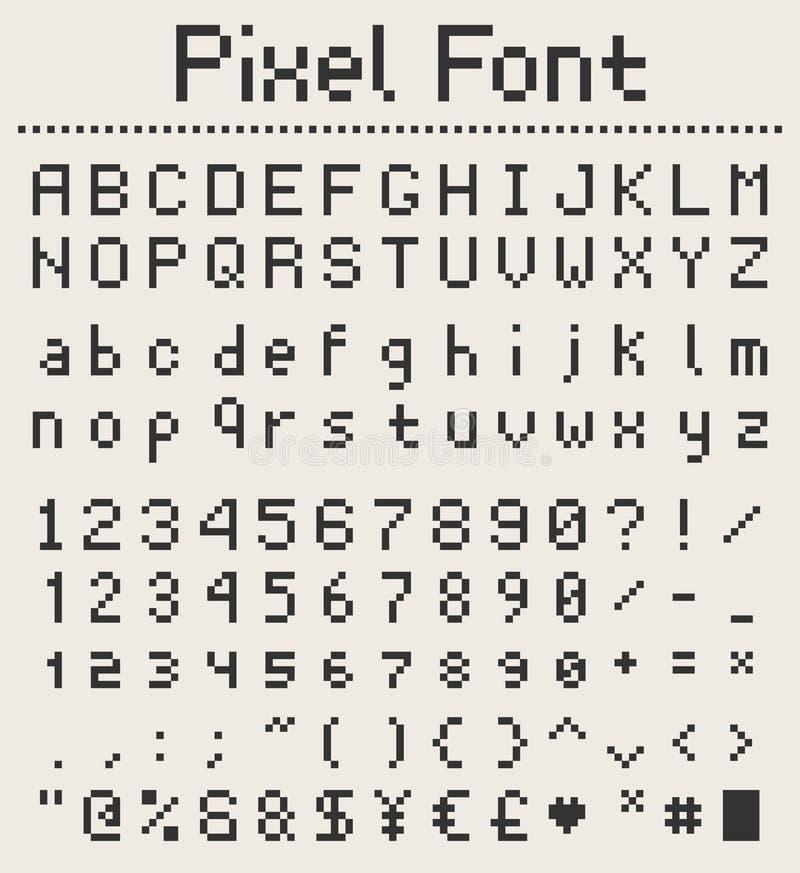 Pixelgussalphabet, Buchstaben und Zahlen, Retro- videgame Art lizenzfreie abbildung
