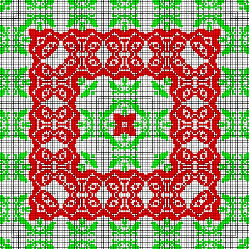 Pixelisation rojo y verde del efecto del modelo de la lona del ethno, marco cuadrado del cordón libre illustration