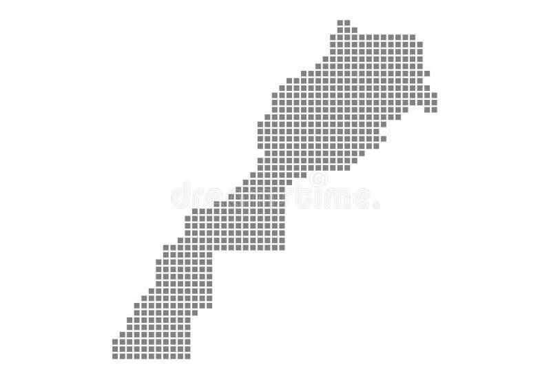 Pixelkaart van Marokko Vector gestippelde die kaart van Marokko op witte achtergrond wordt geïsoleerd Abstracte computer grafisch royalty-vrije illustratie