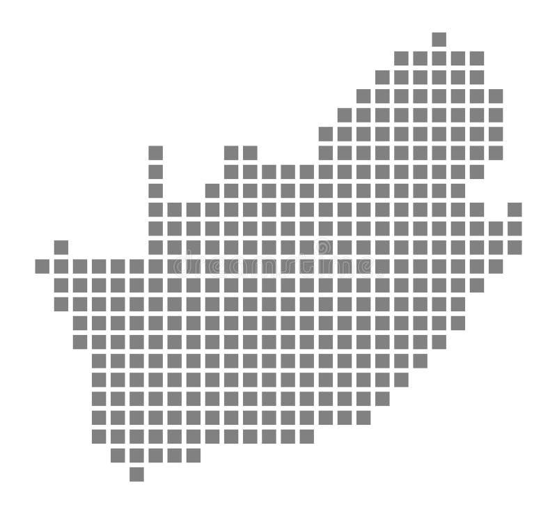 Pixelkaart van Zuid-Afrika Vector gestippelde die kaart van Zuid-Afrika op witte achtergrond wordt geïsoleerd Abstracte computer  vector illustratie