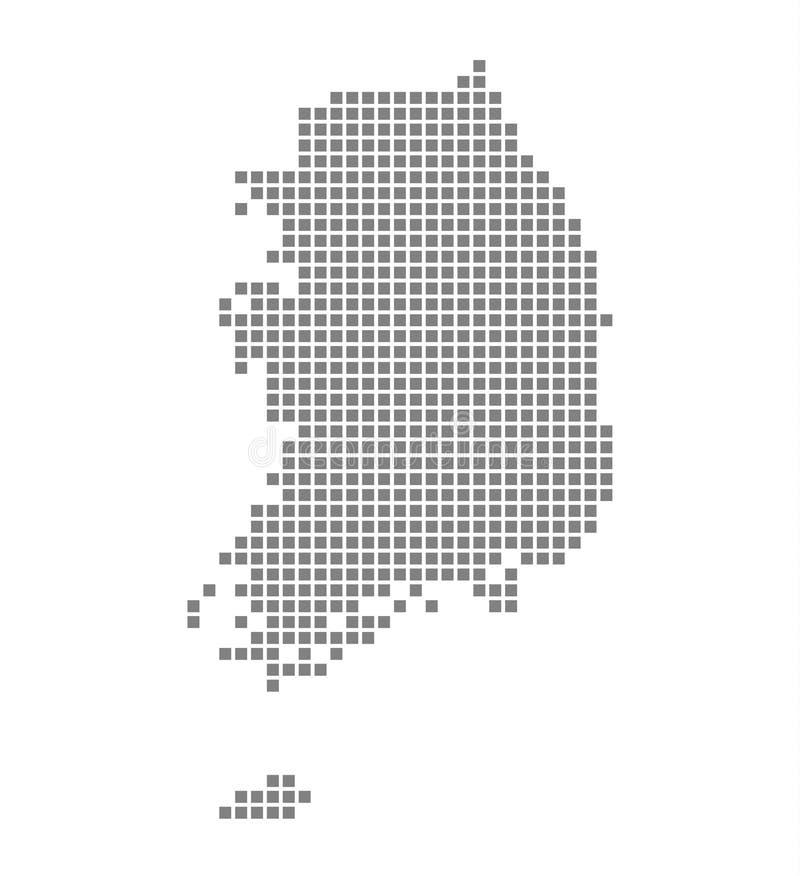 Pixelkaart van Zuid-Korea Isoleerde de vector gestippelde kaart van Zuid-Korea op witte achtergrond Abstracte computer grafisch v vector illustratie