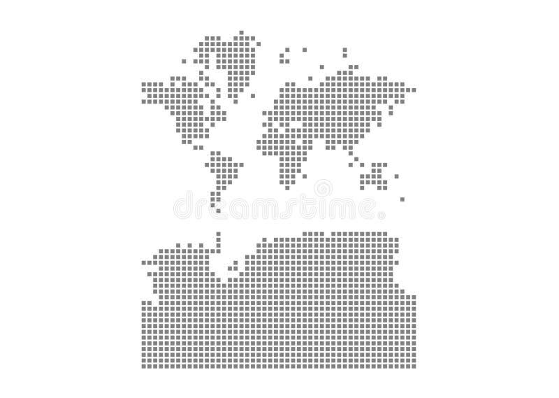 Pixelkarte der Welt mit der Antarktis Vector punktierte Karte der Welt mit der Antarktis lokalisierte auf weißem Hintergrund Abst lizenzfreie abbildung