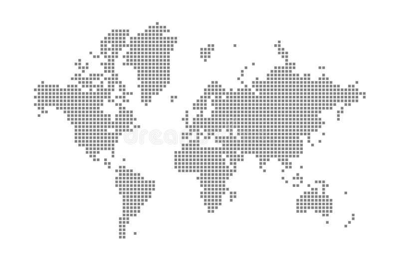 Pixelkarte der Welt Vector die punktierte Karte der Welt lokalisiert auf weißem Hintergrund Abstrakte Computergrafik der Weltkart lizenzfreie abbildung